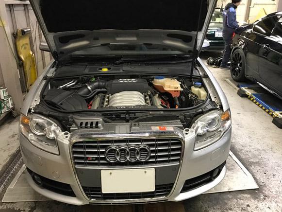 アウディ S4 車検 エンジンオイル漏れ修理